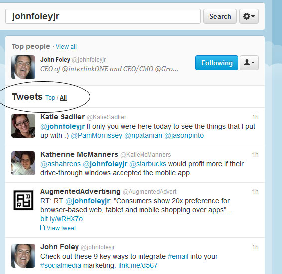 Screenshot of searching on Twitter for johnfoleyjr